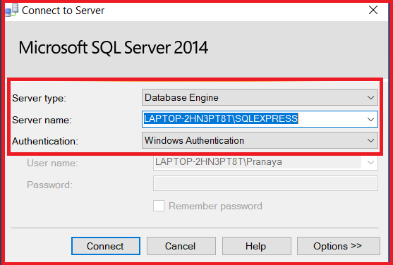 Connecting to SQL Server SQL Server Management Studio (SSMS)