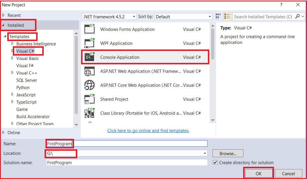 Creating Console Application using Visual Studio