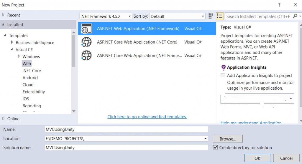 Dependency Injection using Unity Container in MVC Application