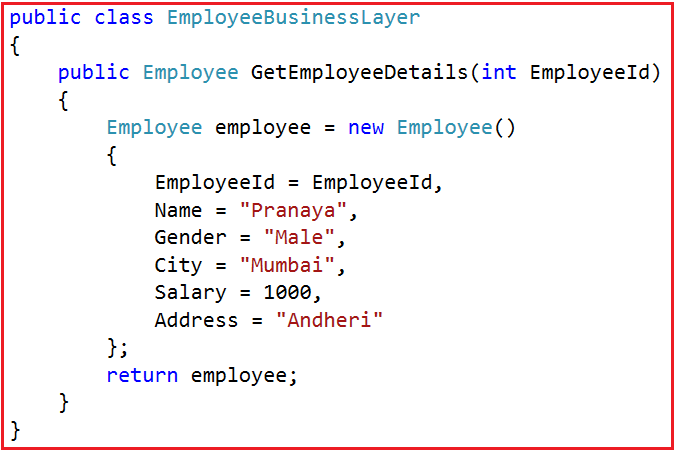 EmployeeBusinessLayer model to manage the employee data