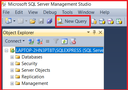 SQL Server Management Studio New Query Window