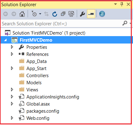 ASP.NET MVC Empty Projecct Folder structure