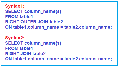 Right Outer Join Syntax in SQL Server