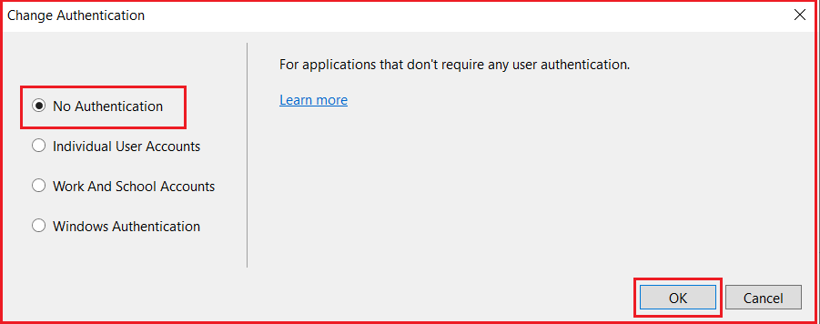 Selecting Authentication For ASP.NET MVC Application