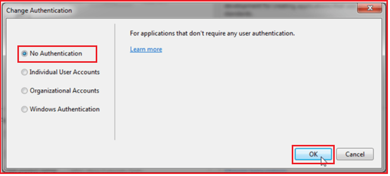 Selecting the Authentication Type in ASP.NET MVC Application