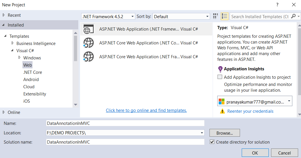 Data Annotation Attributes in ASP.NET MVC Application - Project