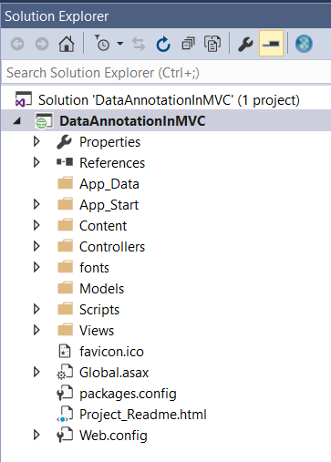 Data Annotation Attributes in ASP.NET MVC Application - Folder Structore