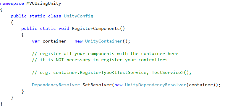 Unity Container with Asp.Net MVC5 for dependency injection