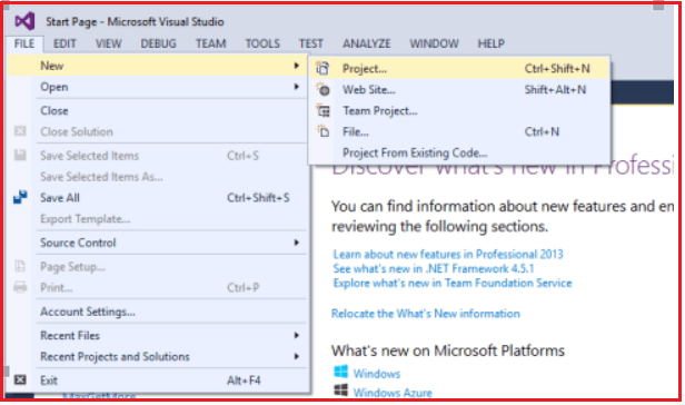 Creating Project in Visual Studio