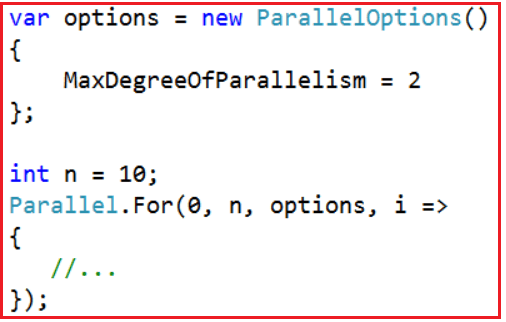 ParallelOptions class with Degree of Parallelism in C#