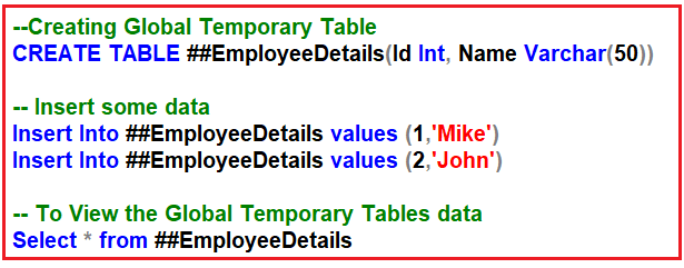 SQL Server Temporary Tables Interview Questions and Answers