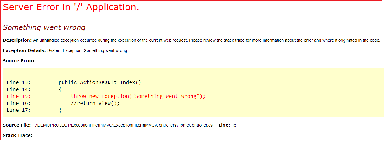 Unhandled Exception Page
