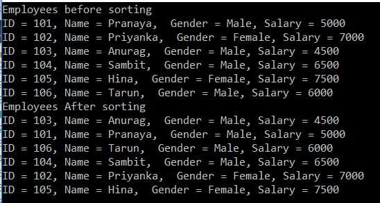 sorting a list of Complex type in C#