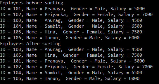 How to Sort a List of Complex Type in C#