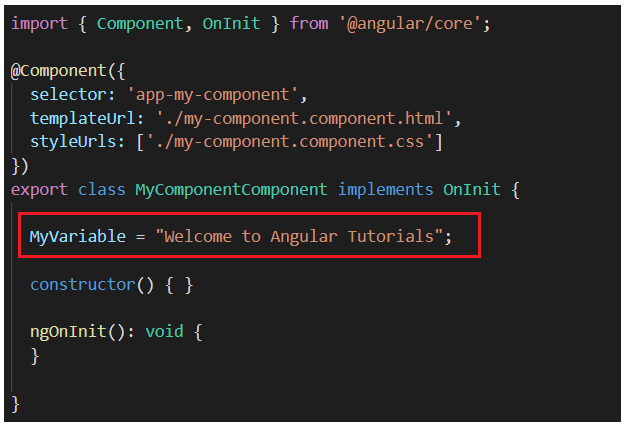 Modifying my-component.component.ts file: