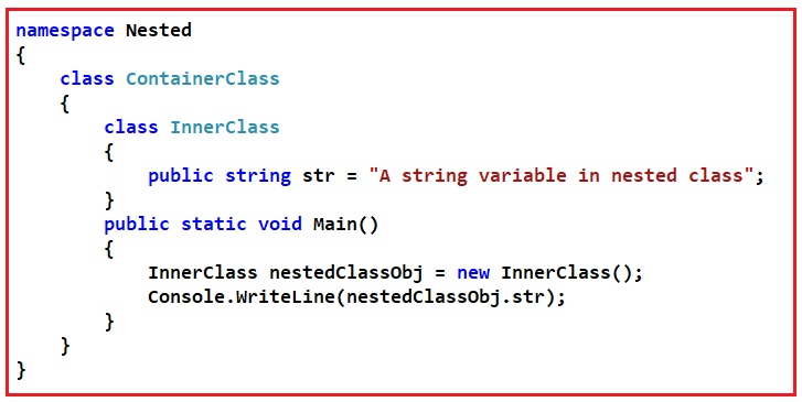 Nested Types Interview Questions and Answers in C#