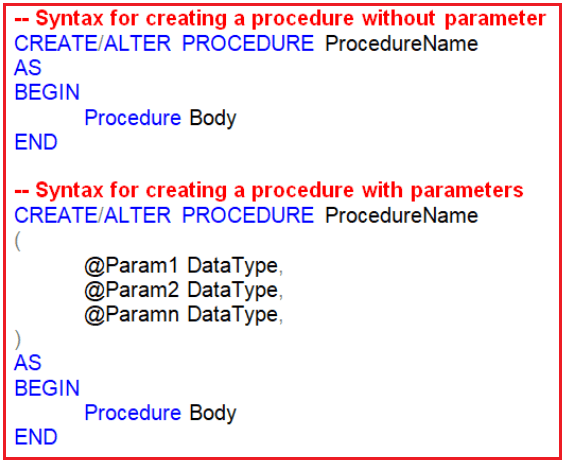 Syntax of Stored Procedure in SQL Server