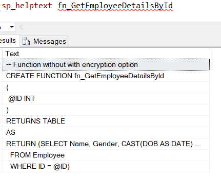 Encryption and Schema Binding Option in SQL Server Functions