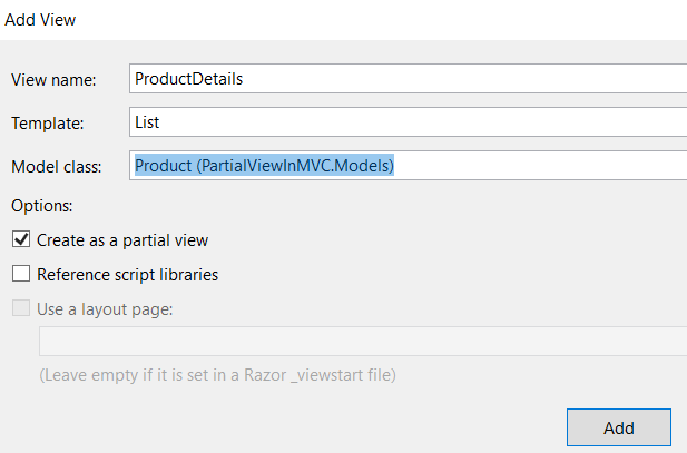Partial Views in MVC