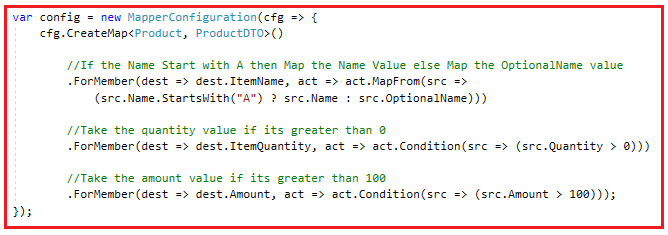 What is AutoMapper Conditional Mapping