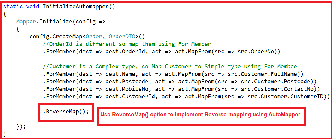 Reverse Mapping Using AutoMapper in C#