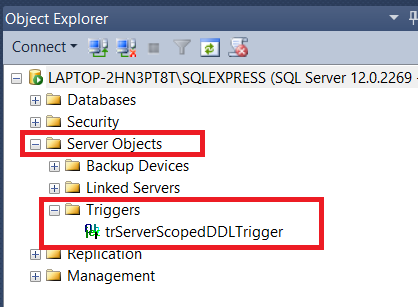 Server-Scoped DDL Trigger in SQL Server