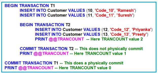 What happens when the inner transactions commit in SQL Server?