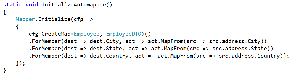 how to map Complex type to Primitive Type using AutoMapper in C#