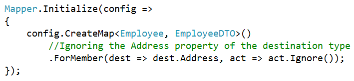 AutoMapper Ignore Property in C#