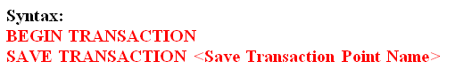 SQL Server SavePoints Transaction