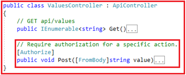 Authentication and Authorization in Web API - At Action Level
