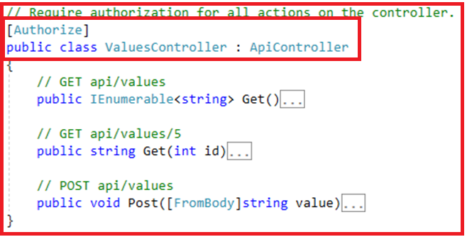 Authentication and Authorization in Web API - At Controller Level