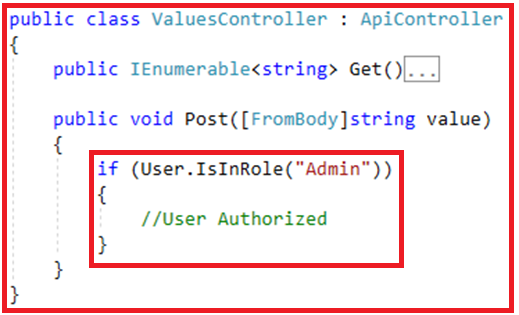 Authentication and Authorization in Web API - Authorization within Controller