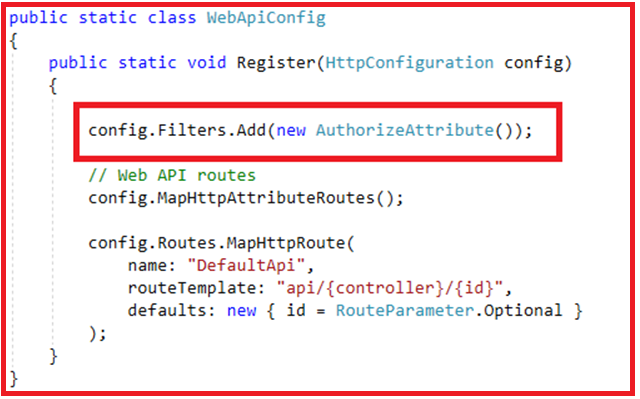 Authentication and Authorization in Web API - Applying Authorize Filter Globally