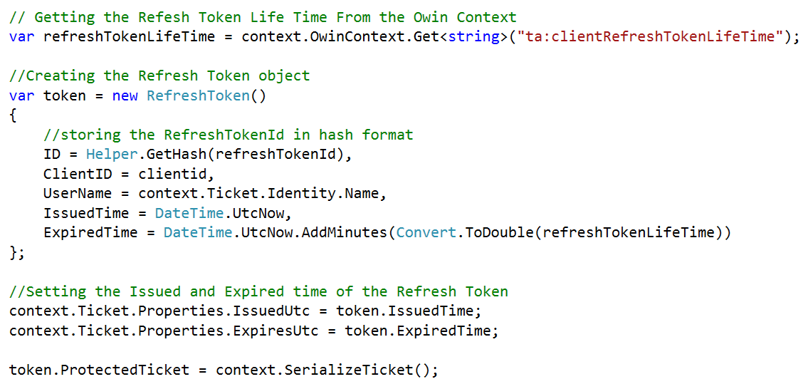 Refresh Token in Web API