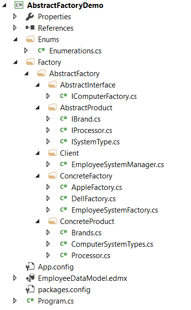 Abstract Factory Design Pattern in C#