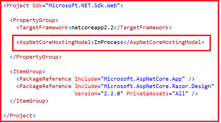 ASP.NET Core InProcess Hosting Application Project File
