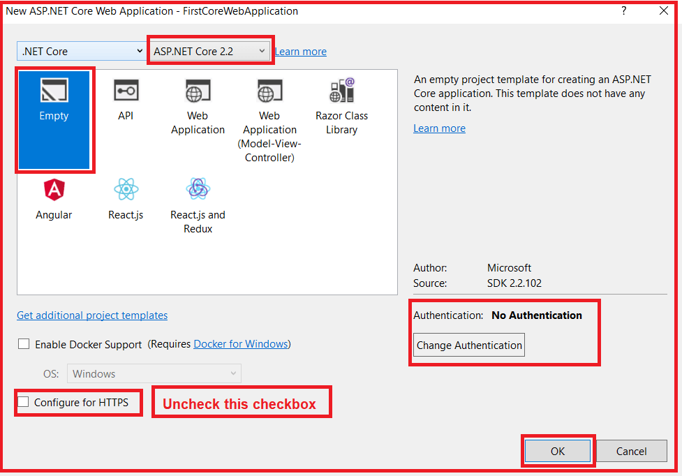 Selecting Project Template ASP.NET Core launchSettings.json file