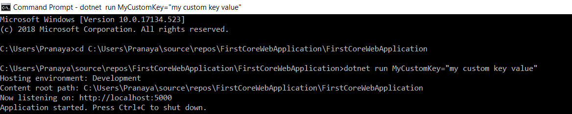 How to Pass Config value from Command Line in ASP.NET Core Application?