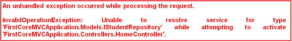 ASP.NET Core Dependency Injection Error