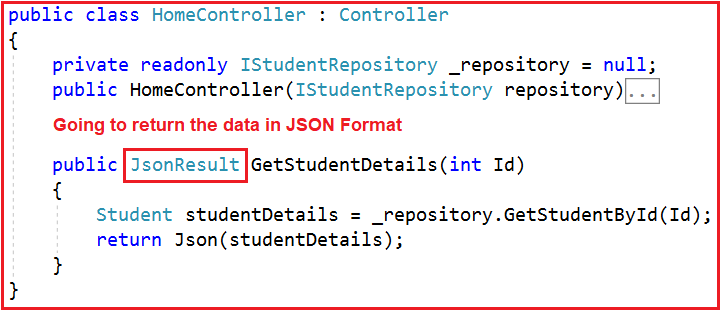 Controller Action Method Returning JSON Data