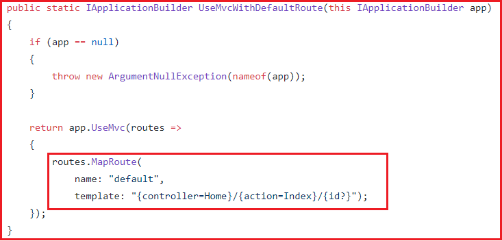 UseMvcWithDefaultRoute() method Implementation