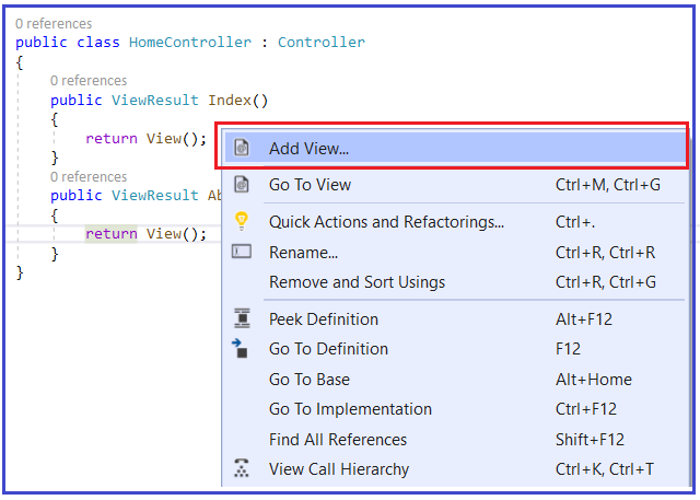 How to return views from action methods?