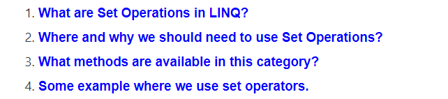 Set Operators in LINQ using C#
