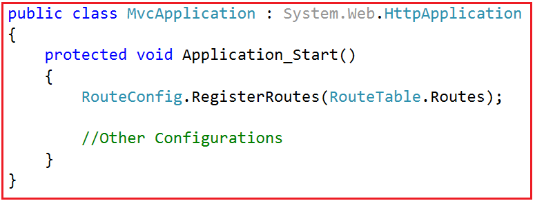 Application_Start() method of the Global.asax.cs class file
