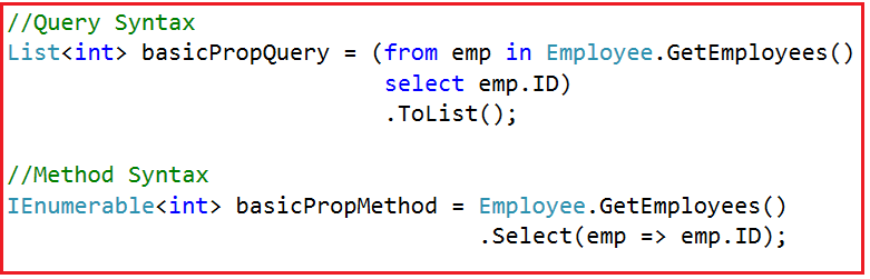 basic Select Query and Method Syntax to select a single property