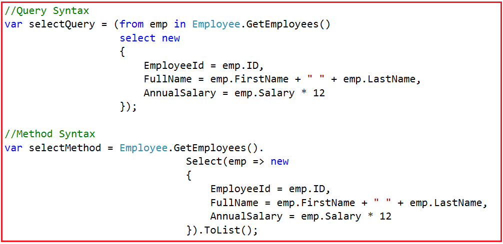 Operations with LINQ Select Query