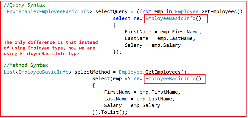 Selecting Data to Other Type using LINQ Select Operator
