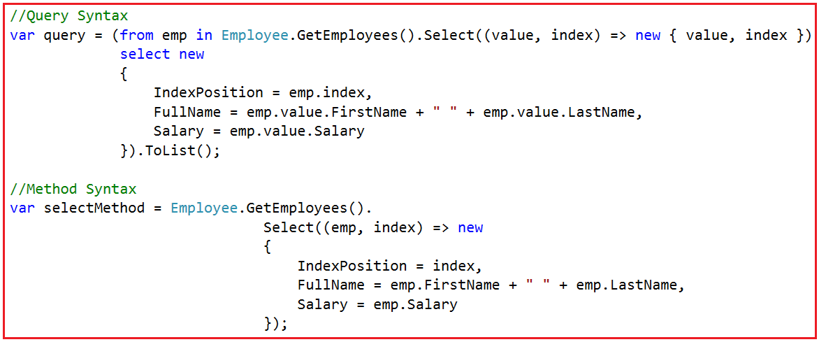 Using Index in LINQ Query