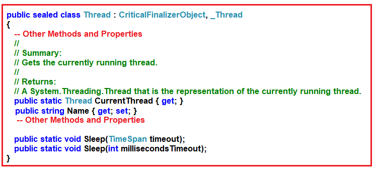 Thread Class definition in C#
